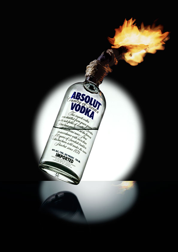 bouteille de vodka en cocktail molotov