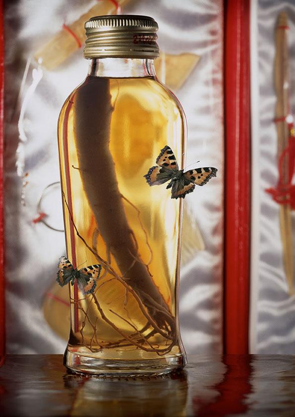 Racine de ginseng en bouteille avec des papillons