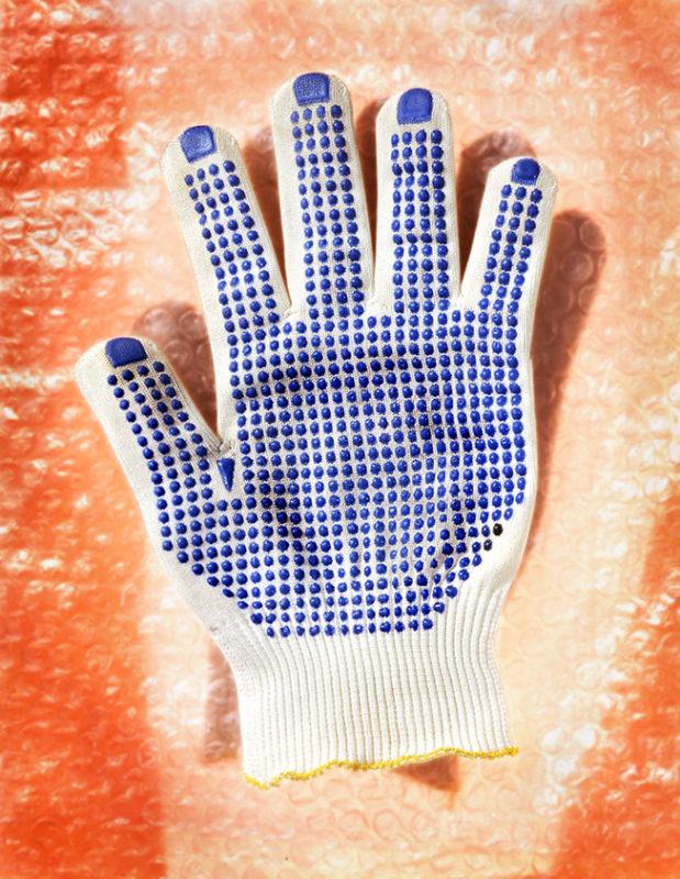 Gants de protection avec paume bleue et papier bulle